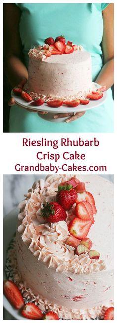 Riesling Rhubarb Crisp Cake with Strawberries | Grandbaby-Cakes.com