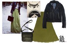falda verde plisada SANTO VESTIDO
