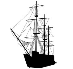 Caravel Sailing Ship Silhouette Vector Art   Download Free Vector ...