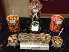 80's dance party candy buffet. Party Candy, Candy Buffet, Buffets, Birthday Candles, Dance, Sweet, Desserts, Food, Dancing