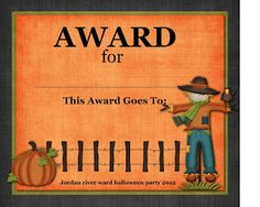 Free printable certificate for your home school or office i had the assignment to put together some bright and colorful halloween costume awards yelopaper Images