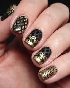 Fishnets and Lace manicure featuring Messy Mansion and BornPrettyStore stamping  |  Sassy Shelly