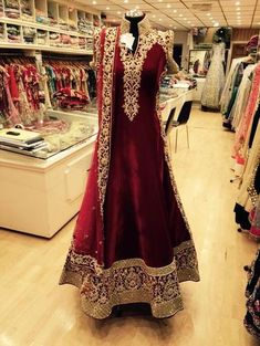 Silk/velvet Anarakali with zari work borders