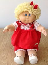 Vintage 1982 Cabbage Patch Kids Girl Doll Blonde Curls Blue Eyes CPK Outfit