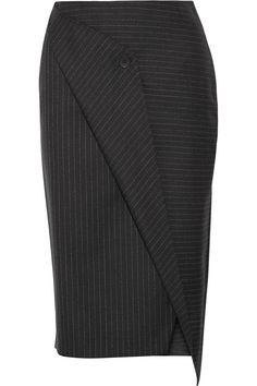 DKNY | Wrap-effect pinstriped wool-twill skirt | NET-A-PORTER.COM