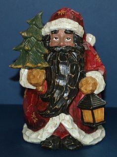 "Folk Art African American Santa Claus 8"" figurine #babescollectibles"