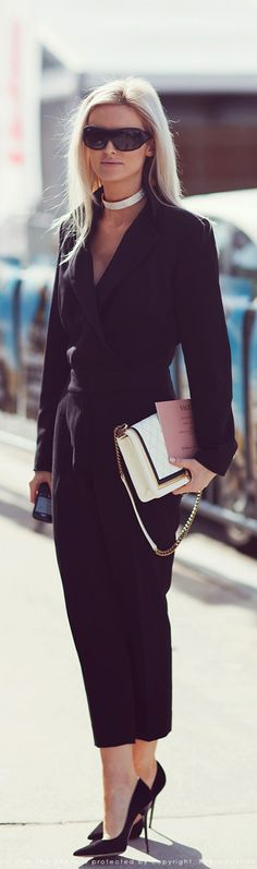 Sophisticated black jumpsuit and heels...gorgeous!  Women's street style winter fashion - Absolutely LOVE it! I want it!