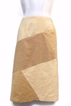 Women's Liz Claiborne Beige Patchwork Skirt Size 16 #LizClaiborne #Pencil