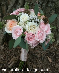 What a delightful palette the bride choose for her late Nov romantic wedding. Gone are the reds, oranges and yellows of fall and the Chris...
