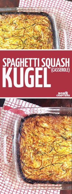 Mmmm... make this delicious spaghetti squash kugel recipe as an alternative to potato kugel. This delicious vegetable casserole is a great side dish or one-pan dinner idea. An easy, protein-rich dinner recipe for busy moms - win-win indeed! FYI it's a kosher for passover (pesach) recipe too!!