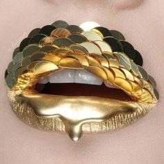 """Lip Armor For @patmcgrathreal #lipart #liquidgold #drippinggold #patmcgrath ##dripart #vladamua"""