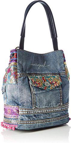 Desigual – Arosa Ethnic Deluxe, Bolso Bandolera Mu… – – Purses And Handbags Diy Denim Tote Bags, Denim Purse, Blue Jean Purses, Diy Sac, Denim Crafts, Diy Handbag, Recycled Denim, Patchwork Bags, Fabric Bags