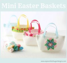 Mini Easter Baskets to sew - made from felt and scraps of ribbon