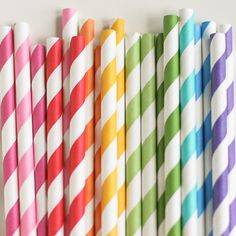 Pretty paper straws are perfect with your favorite party drinks. Mix several colors to match your theme!