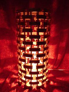Floor lamp, Design lamp made of larch wood