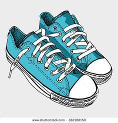 Blue sneaker on light gray background. - stock vector