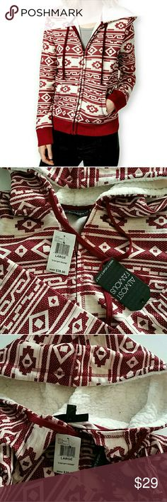 Almost Famous Burgundy Aztec Zip-up Hoodie L New with Tag. Almost famous Aztec print hoodie sweater. Almost Famous Tops Sweatshirts & Hoodies