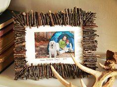 Rahmen zum Vatertag basteln mit kleinen Zweigstücken