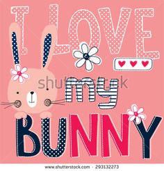 cute bunny girl, T-shirt design vector illustration - stock vector