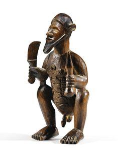 Bembe Biteki Figure, DR Congo Arte Tribal, Tribal Art, Human Sculpture, Lion Sculpture, Congo, African Furniture, Ancient Greek Art, African Sculptures, Afro Art