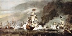 """Willem van de Velde the Younger (1633-1707) """"The Battle of Texel"""", Oil Painting"""