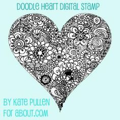 Here are 14 free digital stamps for your Valentine's Day and romantic themed projects.: Doodle Heart Digital Stamp