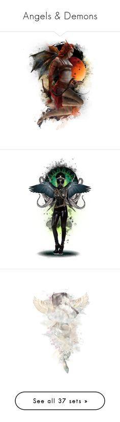 """Angels & Demons"" by girlinthebigbox ❤ liked on Polyvore featuring demons, angels, cherubs, fourhorsemen, seraphs, art, angel, Demon, myth and music"