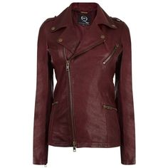 McQ ALEXANDER MCQUEEN Leather Biker Jacket ($895) ❤ liked on Polyvore featuring outerwear, jackets, coats, leather jackets, coats & jackets, dark red, studded leather jacket, leather moto jackets, lined leather jacket and red biker jacket