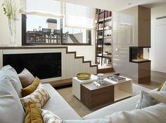 molins interiors saln sof mesa de centro escalera biblioteca