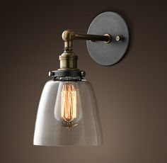 RH's 20th C. Factory Filament Clear Glass Cloche Sconce:Evoking early-20th-century industrial lighting, our reproductions of vintage fixtures retain the classic lines and exposed hardware of the originals.