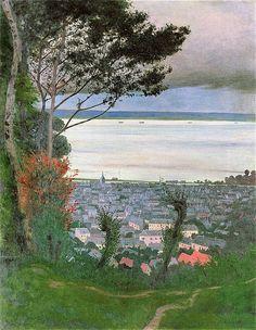 Felix Vallotton — View of Honfleur, Evening — 1912 Maurice Denis, Pierre Bonnard, Lawrence Lee, Honfleur, Grain Of Sand, Cool Artwork, Landscape Art, Oeuvre D'art, Les Oeuvres