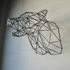 Steel Bear head to hang on your wall. Love the geometric shapes.