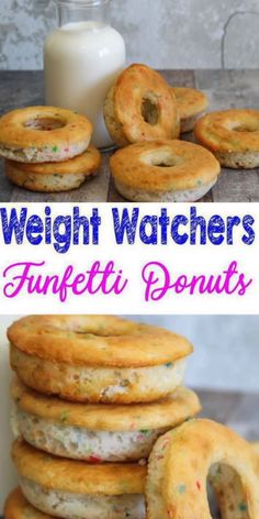 Super EASY Weight Watchers Donuts! WW friendly breakfast, WW treat, snack or dessert . Simple WW recipes for yummy funfetti donuts - WW recipe! Weight Watchers funfetti donuts. Great Weight Watchers breakfast everyone will love - Weight Watchers donuts recipe for a healthy food. WW scones makes a perfect Weight Watchers recipes idea. Great WW breakfast food idea (donuts or muffins). Check out this tasty recipe with #smartpoints #weightwatchers