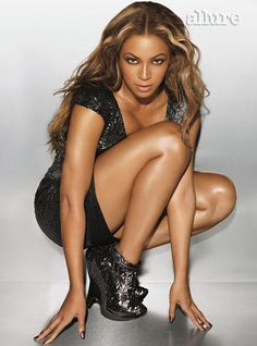 Beyonce Knowles in Allure Magazine shoot, Feb Black sparkly short dress, with black wedge ankle-boot heels. Beyonce Knowles Carter, Beyonce And Jay Z, Style Beyonce, Rihanna, Culture Pop, Queen B, Role Models, My Girl, Fashion News