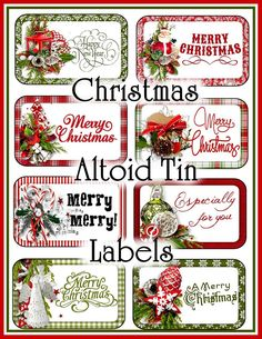 Christmas Greetings Altoid Tin Labels Set on Craftsuprint - Add To Basket! Christmas Labels, Christmas Greetings, Christmas Fun, Christmas Ornaments, Christmas Quotes, Christmas Printables, Xmas, Christmas Glitter, Christmas Child