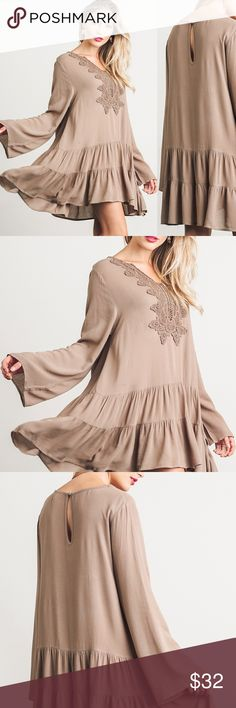 ONLY SMALL LEFT! Mocha Lace Babydoll Dress .  Runs VERY big with a loose fit, check measurements. .  Beautiful lace details. .  Bell sleeve, loose dress. .  Thin, soft material. .  Nonstretchy fabric. .  55% Cotton, 45% Polyester. .  No perfumes, scents, or unwrinkle sprays added. Laying flat, unstretched:  Size SMALL, Bust measures 23 inches, waist 25, overall length 33.  To get approximate sizes,  add an inch to bust and waist measurements for MEDIUM and 2 inches for LARGE. O-7 FROMTXHONEY…