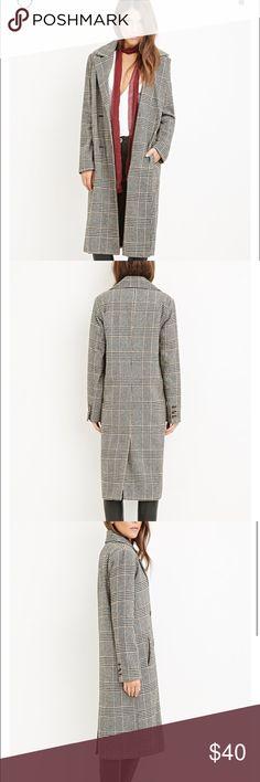 Plaid duster coat Cute long plaid duster coat. Great for fall. Never worn. NWT Jackets & Coats Pea Coats