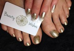 """✨Gelish """"Give Me Gold"""" and """"Sheek White"""" ombre with Gelish """"All That Glitters Is Gold"""" over ✨"""