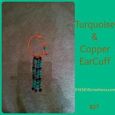 TURQUOISE & COPPER EARCUFF  ready to ship by EYESEYEcreations, $27.00