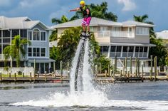 Flyboarding--    Walking on water doesn't require a miracle — just a flyboard. A cross between a water-propelled jetpack and a hoverboard, this newfangled water adventure is perfect for the calm waters off Sanibel and Estero Island. And FMB FlyBoard offers complete rental packages (the helmet, the life vest, the board that turns you into a superhero).  Expert flyboarders can soar as high as 30 feet in the air, then plunge, dolphin-like, into the water before popping up and flying all over…