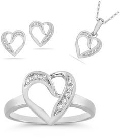 applesofgold.com - 7 Stone Diamond Heart Ring, Earrings, and Pendant Collection in 14K White Gold