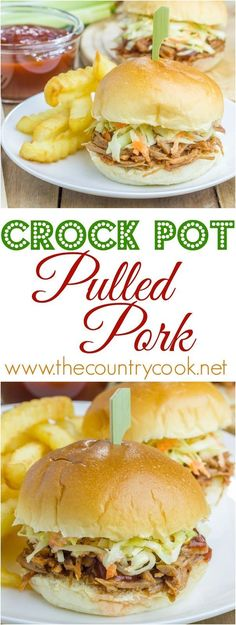 Crock Pot Pulled Pork recipe from The Country Cook. Flavorful because of a special ingredient! Cooks Slow Cooker, Crock Pot Slow Cooker, Crock Pot Cooking, Slow Cooker Recipes, Crockpot Recipes, Crock Pots, Crockpot Dishes, Delicious Recipes, Yummy Food