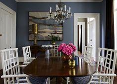 dining rooms - David Hicks La Fiorentina - Blue & Brown cushions white lattice chairs blue walls chocolate brown velvet drapes chippendale dining table gold figurine lamp bronze chandelier