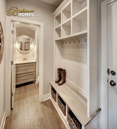 Home Decor, Shiplap, Mud Room, Boot Bench, Storage Solutions, Model Homes, Interior Design, Floor plan Inspiration, Home Inspiration New Home Builders, Home Builders, Home, Interior And Exterior, New Homes, Model Homes, Egress Window Well, Room, Mudroom