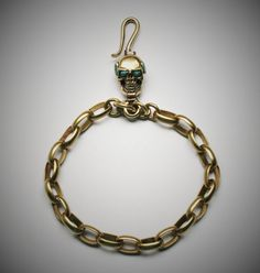 Skull Brass Hook Key Chain/Key Holder Spooky Steampuck by Mygoth (GBK009)