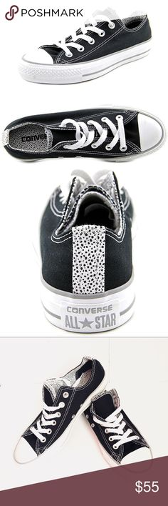 CONVERSE ALL STAR DOUBLE TONGUEOX POLKADOT SNKRS Converse Chuck Taylor All Star Double tongue Ox polka dot black white 546914F. Brand new and never use. Size 8. Converse Shoes Sneakers