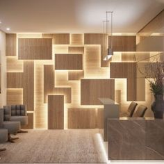 Commercial Reception Highlighted illuminated panel design by Camila Pimenta. Wall Panel Design, Wall Decor Design, Decoration Design, 3d Wall Decor, Office Interior Design, Interior Walls, Interior Decorating, Office Cabin Design, Wall Cladding Interior
