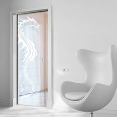 eclisse 10mm dragon sandblasted design on clear or satin glass pocket door