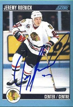 Jeremy Roenick Black Hawks Signed 1992-1993 Score Canadian Card #200 Rare SL COA . $15.00. Chicago Black Hawks CenterJeremy RoenickHand Signed 1992-1993ScoreCanadian Card # 200WONDERFUL AUTHENTIC HOCKEY COLLECTIBLE!!! .SIGNATURE IS AUTHENTICATED BY SPORTSLOT AUTHENTICATION, NUMBERED SL STICKER ON ITEM.SL COA: # 11272