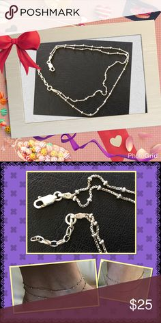 """925 Sterling Silver Stamped Layers Anklet Used in perfect condition it's Italy 925 sterling silver stamped length 9.5"""" ( 1"""" more adjustable size ) Jewelry Bracelets"""